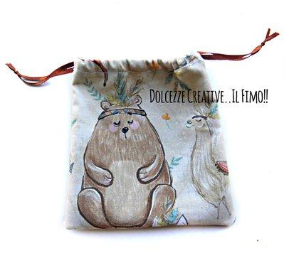 Sacchetto - Confezione - contenitore - Coppetta mestruale - Stampa animali della foresta, orso, lama, lupo- Gattini - zero waste - no sprechi