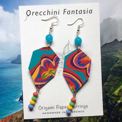 orecchini pendenti fantasia astratta colorata