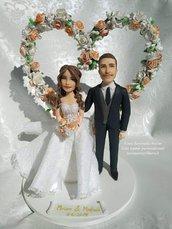 Caricatura cake topper personalizzati realistici in porcellana fredda