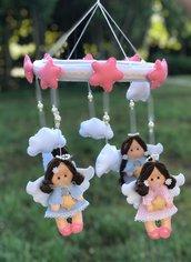 Giostrina culla con angioletti perle e nuvole