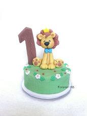 Cake topper con leoncino per primo compleanno bimbo