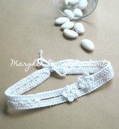 Fascetta bianca neonata/bambina - lineare - fiorellini - uncinetto - Battesimo - fatta a mano