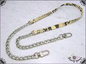 Tracolla per borsa lunga cm. 100 in similpelle pitonata crema / antracitee, catena e moschettoni argento