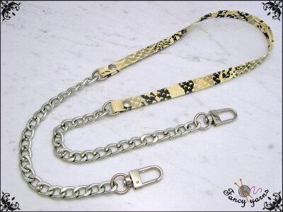 Tracolla per borsa lunga cm. 85 in similpelle pitonata crema / antracite, catena e moschettoni argento