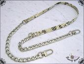 Tracolla per borsa lunga cm. 115 in similpelle pitonata grigio / antracite, catena e moschettoni argento