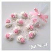 Segnaposto con confetti decorati con rose,  per battesimo,  comunioni,  cresima e matrimoni