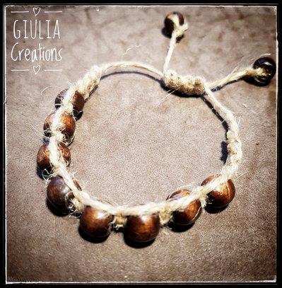 bracciale shamballa con perle legno