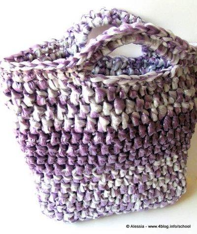 """Pattern - spiegazione per """"ECO-BAG"""" la shopper fatta di filato di plastica (riciclata) a crochet uncinetto"""