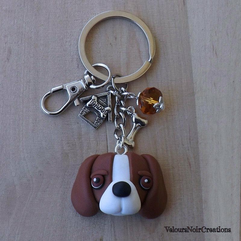 Portachiavi cane beagle in fimo