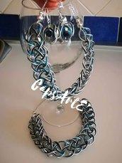 Parure collana e orecchini intrecciati fatti a mano con capsule caffè - Linea Dreamy Snake