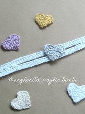 Fascetta bianca neonata/bambina - regolabile - cuore giallo/avorio/argento/glicine - fatta a mano