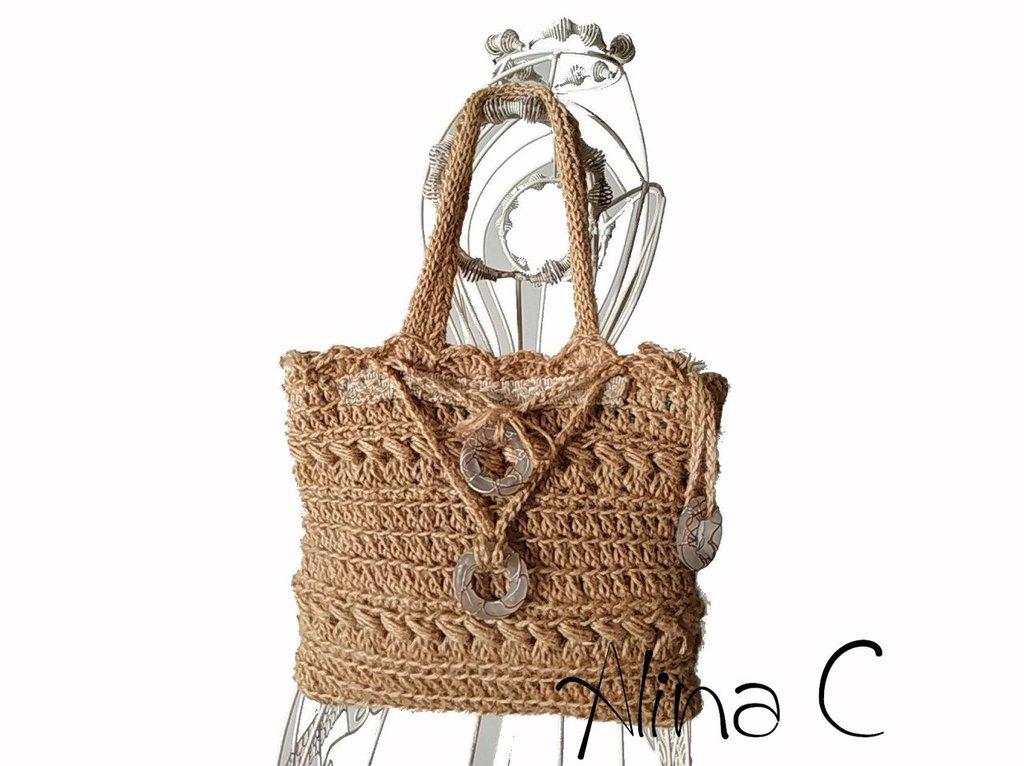 Borsetta a mano JUTA , borsetta crochet foderata, borsetta estate, borsetta donna, ragazza, colore naturale