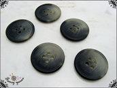 5 bottoni in poliestere, 20 mm, effetto corno, attaccatura 4 fori