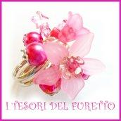 """Anello """"Fufu Flower  fucsia """" fiore estate lucite idea regalo regolabile festa mamma primavera cerimonia damigella"""
