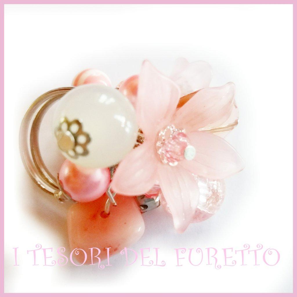 "Anello ""Fufu Flower  Rosa"" fiore estate lucite idea regalo regolabile festa mamma primavera cerimonia damigella"