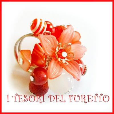 """Anello """"Fufu Flower rosso """" fiore estate lucite idea regalo regolabile festa mamma primavera cerimonia damigella"""