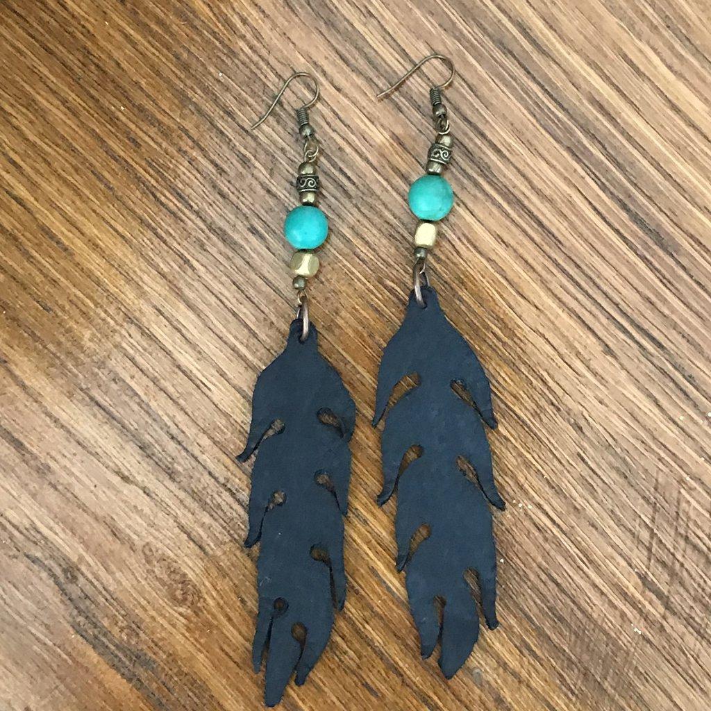 Orecchini foglia pelle e pietre, blu