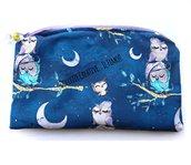Pochette Borsello - wet bag - con chiusura a zip - gufi con luna e alberi - notte stellata  - idrorepellente Portatrucchi, borsello da borsa, Assorbenti lavabili