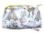 Pochette Borsello - wet bag - con chiusura a zip - campo indiano, tenda, volpe, cerbiatto ecc - idrorepellente Portatrucchi, borsello da borsa, Assorbenti lavabili