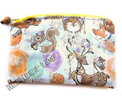 Pochette Borsello - wet bag - con chiusura a zip - Inverno - orso, porcospino, scoiattolo, cerbiatto ecc - idrorepellente Portatrucchi, borsello da borsa, Assorbenti lavabili