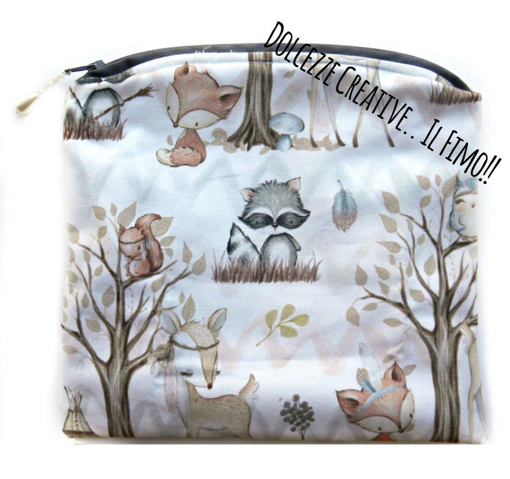 Pochette Borsello - wet bag - con chiusura a zip - Animali foresta scoiattolo, orso, volpe, cerbiatto - idrorepellente Portatrucchi, borsello da borsa, Assorbenti lavabili