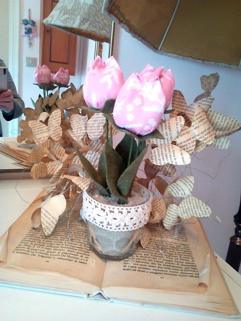 VASETTO 3 tulipani stoffa