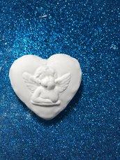 Cuore con angelo 3d in gesso ceramico profumato  per il fai da te