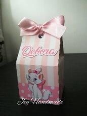 Scatolina caramelle confetti segnaposto Minù Aristogatti minu Marie pois nome compleanno