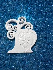 Albero della vita con icona sacra famiglia gesso ceramico per fai da te