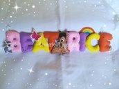 Banner nome Beatrice, lettere imbottite e cerbiatto
