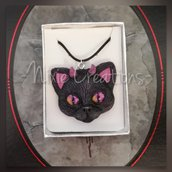 Collana Demon Cat - Fucsia