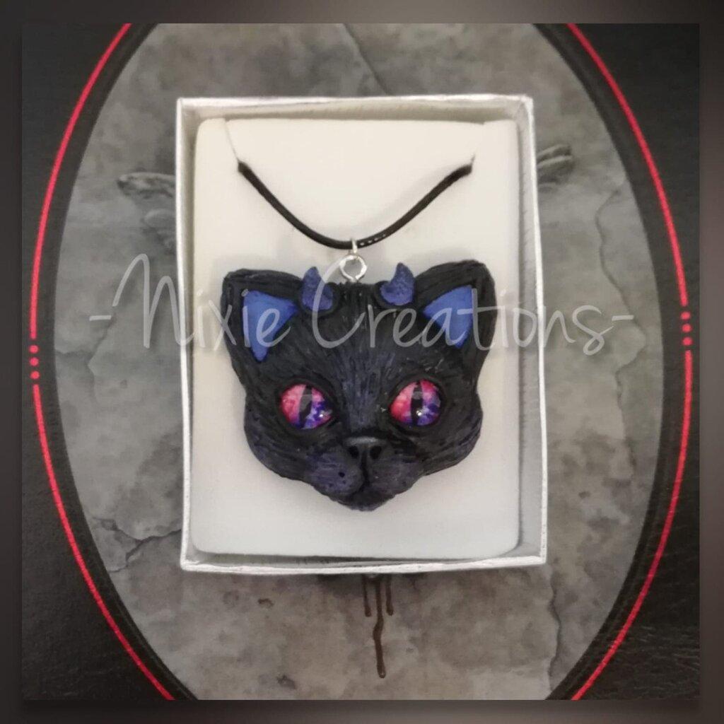 Collana Demon Cat - Blu