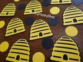 Tema ape coriandoli fatti a mano alveare e cerchi nero e giallo decorazioni,baby shower nascita battesimo rosa azzurro bianco nero e giallo decorazioni personalizzate,bambino bambina festa compleanno ape alveare animali giungla,primo compleanno dell'ape