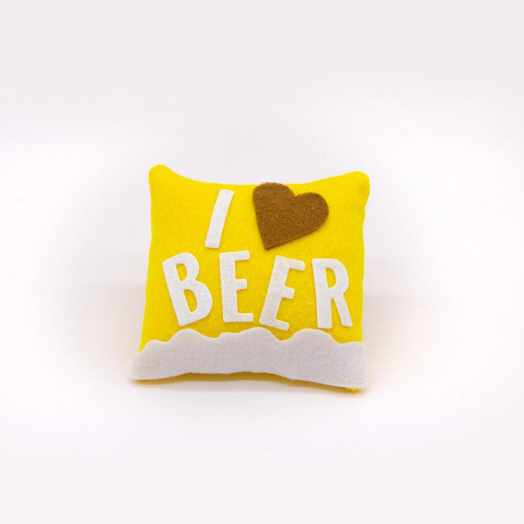 Mini cuscino I love beer, 9 x 9 cm