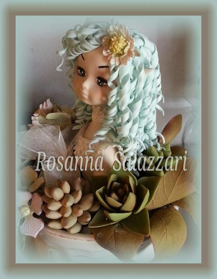 bambola centrotavola in porcellana fredda -fata dei fiori