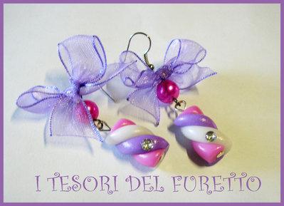Orecchini SPUMONI MARSHMALLOW dolcetti rosa viola fimo cernit