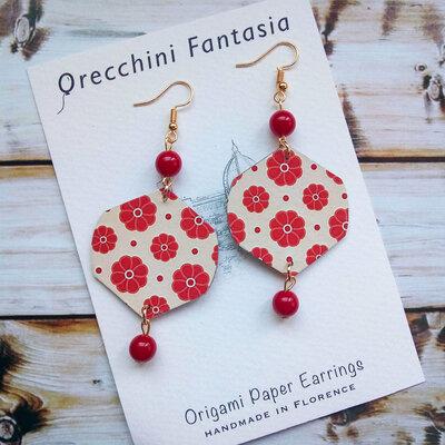 orecchini pendenti fantasia fiori rossi