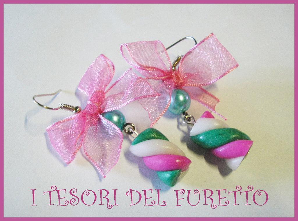 Orecchini SPUMONI MARSHMALLOW dolcetti rosa verde acqua fimo cernit