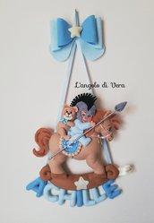 Fiocco nascita cavallo a dondolo e Achille