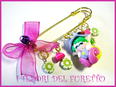 Spilla FOLLETTO fimo cernit idea regalo
