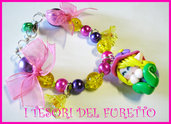 Bracciale Folletto Fimo cernit idea regalo fucsia