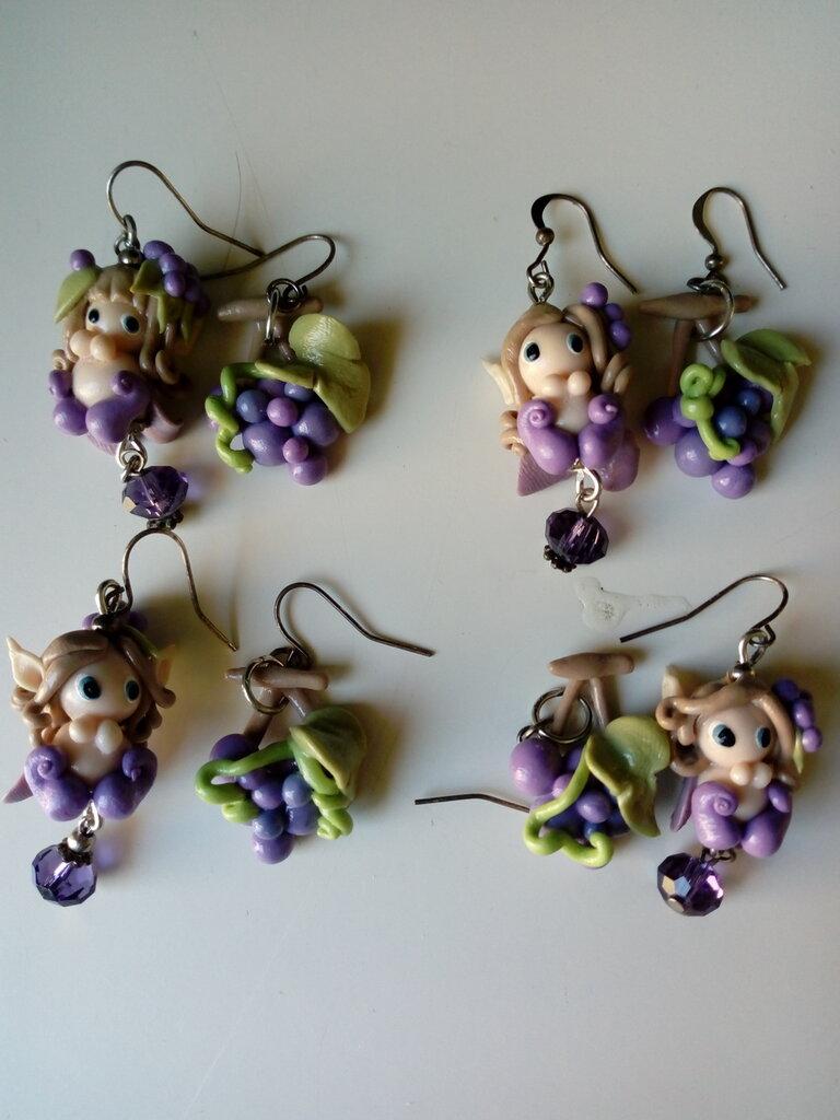 Orecchini fatina uva