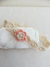 Fascia bimba in puro cotone con fiore