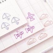 Paper clips, Metal paper clips, Graffette in metallo, cartoleria, Mini paper clips a forma di nuvola, ombrello, aeroplano