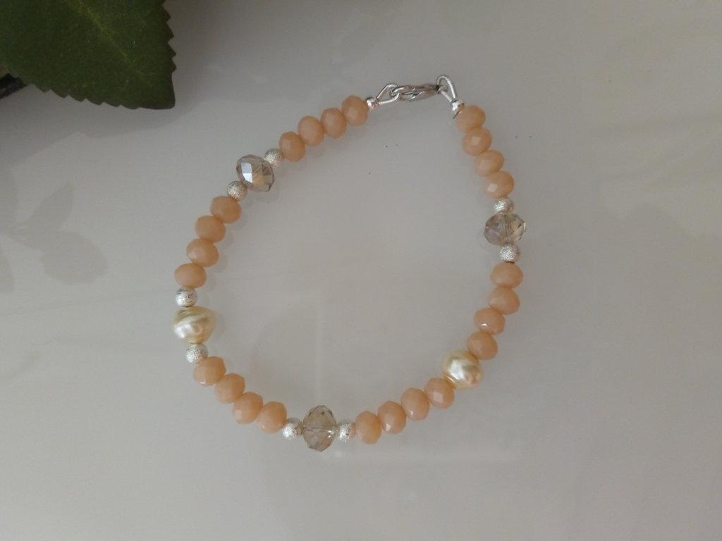 braccialetto cristalli rosa