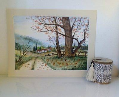 """acquerello """"paesaggio autunnale"""""""