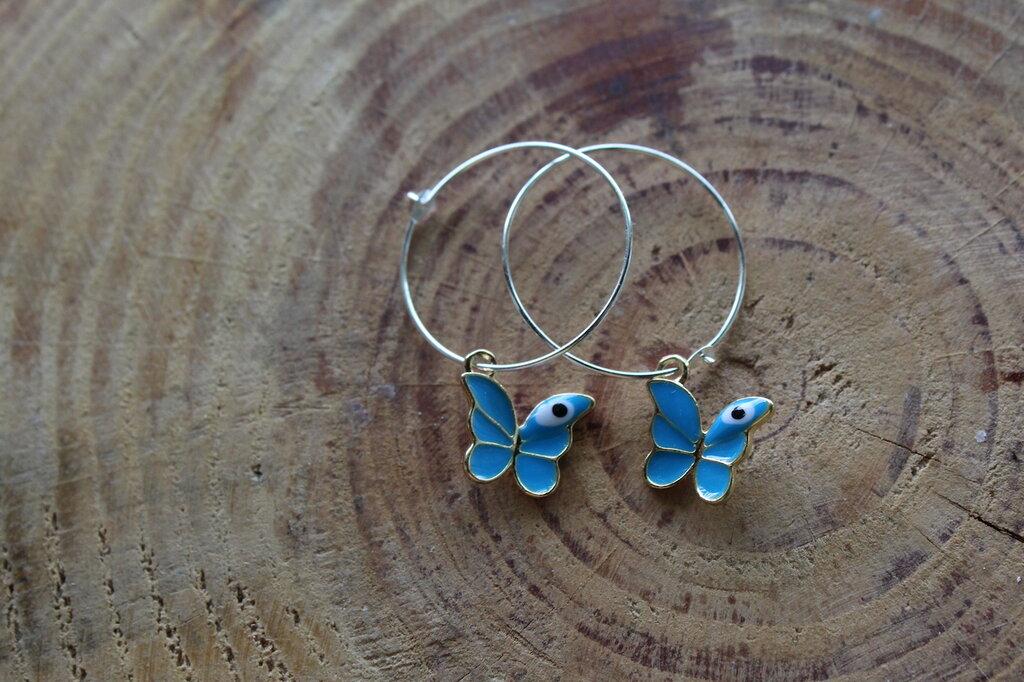 orecchini farfalla azzurri