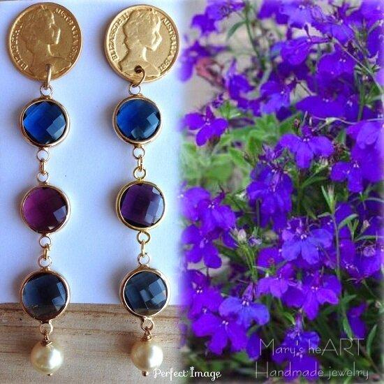 Orecchini pendenti con perni in zama a moneta, cristalli e perle coltivate