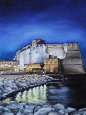 Dipinto di Napoli Castel dell'ovo olio su tela realizzato a mano
