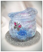 Porta fiori- sacco portacioccolate in plastica riciclata argento glitter